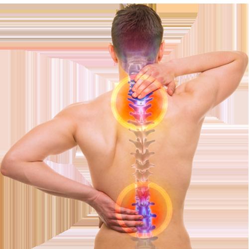 mężczyzna z bólem kręgosłupa w odcinku szyjnym i odcinku lędźwiowym